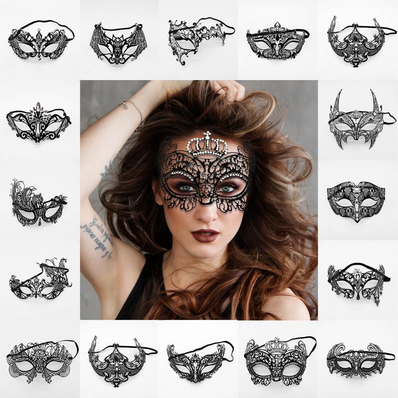 Maschere da donna veneziane da festa in metallo nero tagliato a laser vestito in costume XMAS maschera da ballo in maschera mezza maschera TTA1593