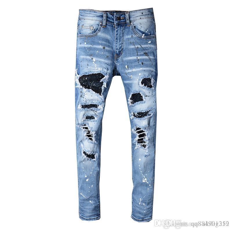 2019 New Fashion Simple Summer Casual Straight Denim Pants Designer Jeans Light Drawstring Printed Jeans Slim Pants Mens Trousers Size 28-42
