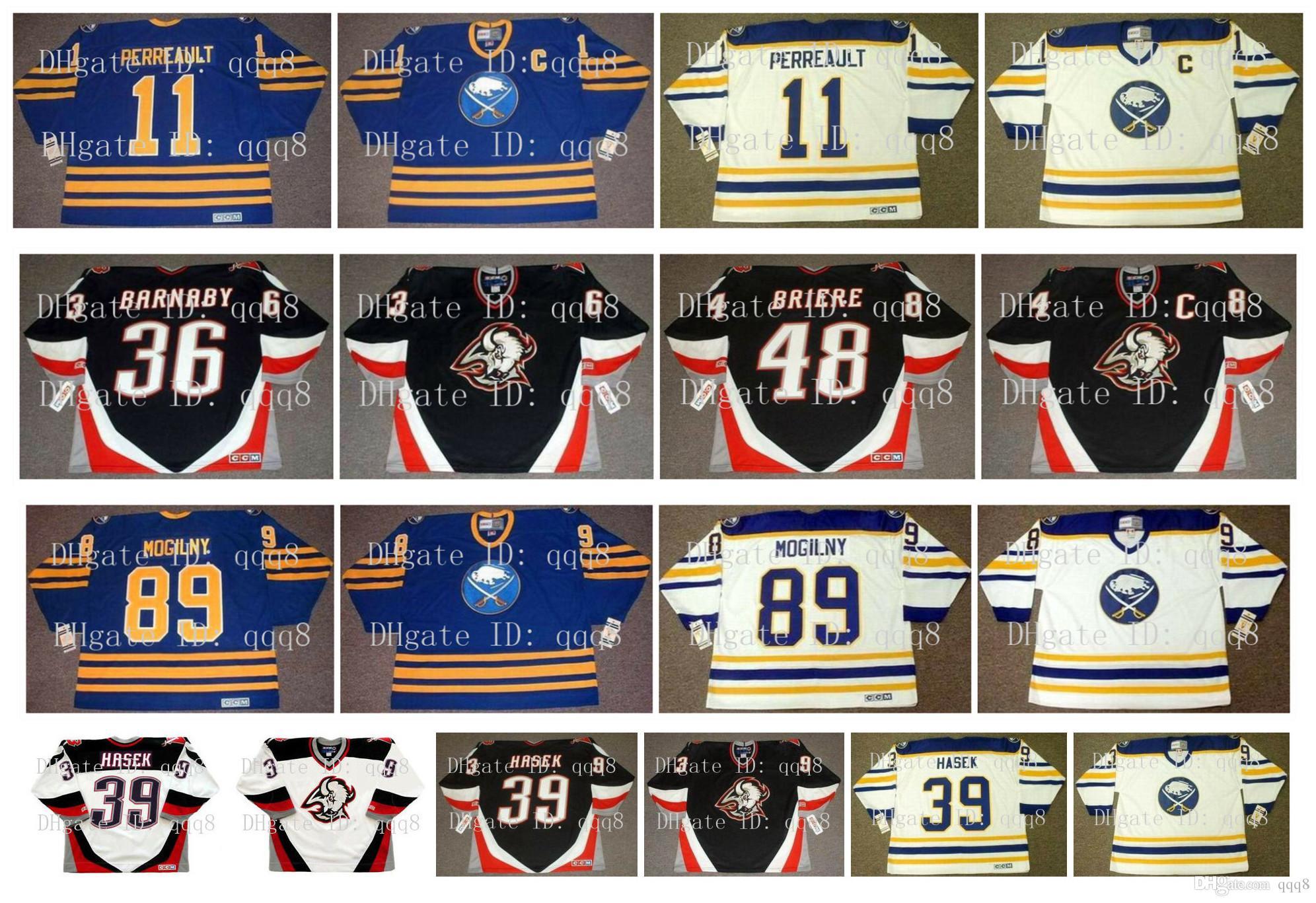 Buffalo Sabres de la vendimia jerseys 39 Dominik Hašek 89 ALEXANDER Mogilny 36 Matthew Barnaby 48 DANIEL BRIERE 11 Gilbert Perreault los jerseys del hockey
