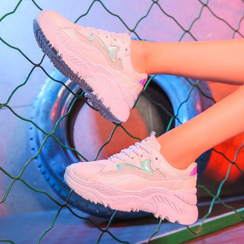 Sapatas Das Mulheres 2019 Moda Chunky Sneakers Mulheres Sapatos Vulcanizados Sapatilhas Brancas Tenis Feminino Plataforma Pai Feminino Krasovki