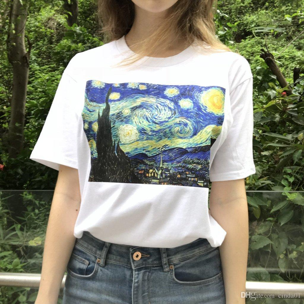 The Starry Night Printed Famous Masterpiece Painting Women Casual T-shirts Female Hip Hop High Street Tees