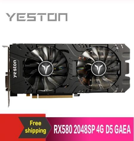 Yeston Radeon RX580 2048 SP-4G GDDR5 PCI Express 3,0 tarjeta gráfica para videojuegos tarjeta gráfica eksterna para escritorio 16 kata
