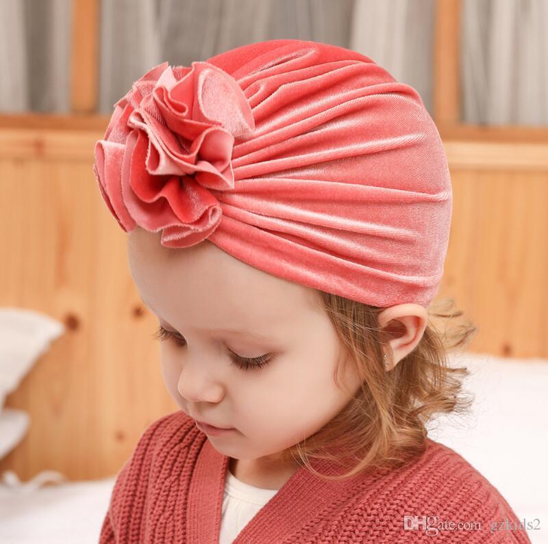 14 Цвет золотисто-бархатный вязаный плиссированные цветы детские шапки детские шапки для новорожденных Головные уборы для девочек Шапка для детей Детская шапочка Детские шапочки детские аксессуары