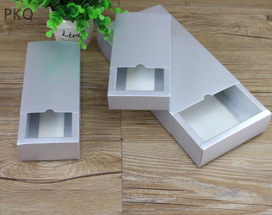 Box Packaging Kahve Katlama gümüş rengi El yapımı Sabun Kutusu Boş Mücevher Hediyeler Packaging 10pcs çekmece altın Karton kutular