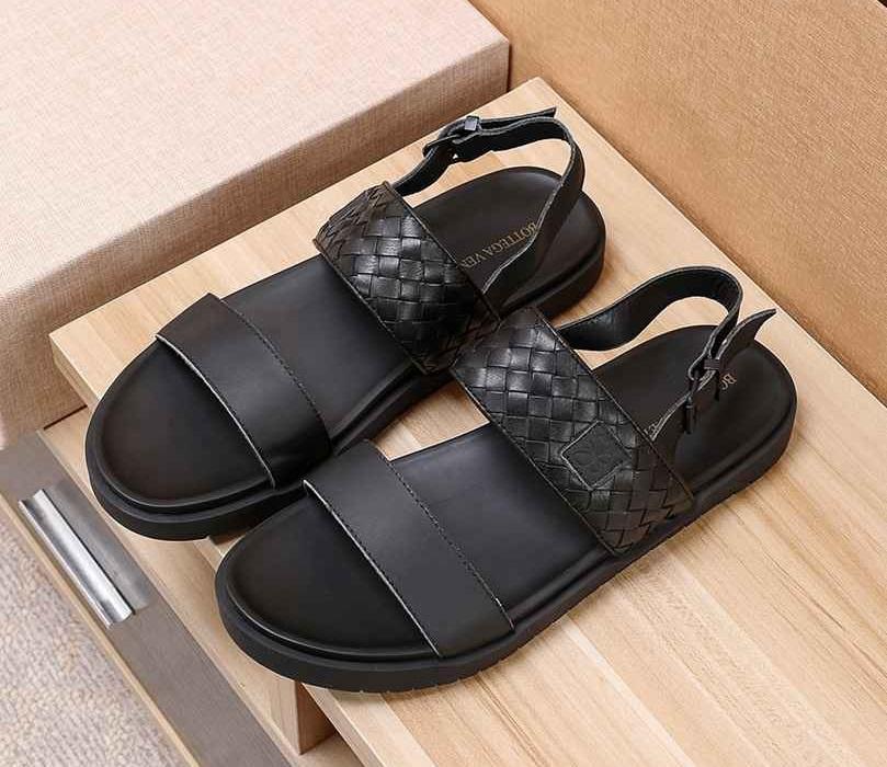 Marca los hombres de cuero de vaca sandalias de punta abierta casuales, verano fresco de la manera tejida playa flip-flop agua Guata planos de zapatos zapatillas mocasines, 38-45