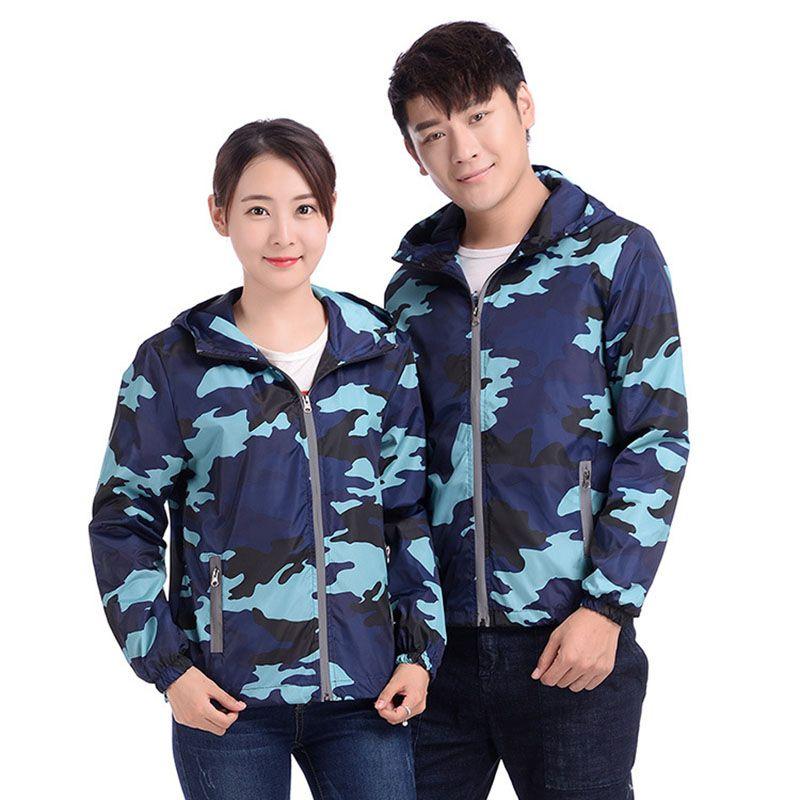 Camouflage Coat & Jacket Women 2020 Spring Autumn Thin Windbreaker Outerwear Couple Sportswear Clothing Large Size Hooded Coats