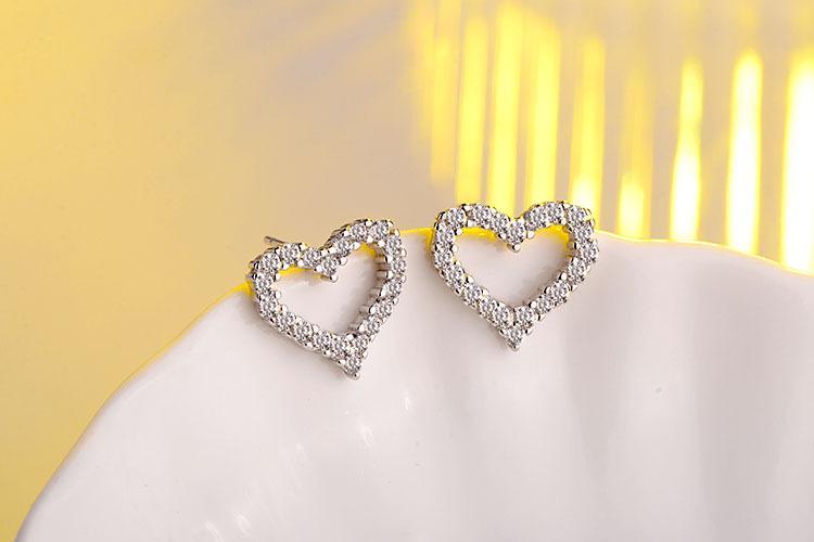 Fashion-High quality cute 925 sterling silver earrings stud heart shape earring for women sweet fashion wedding jewelry accessories