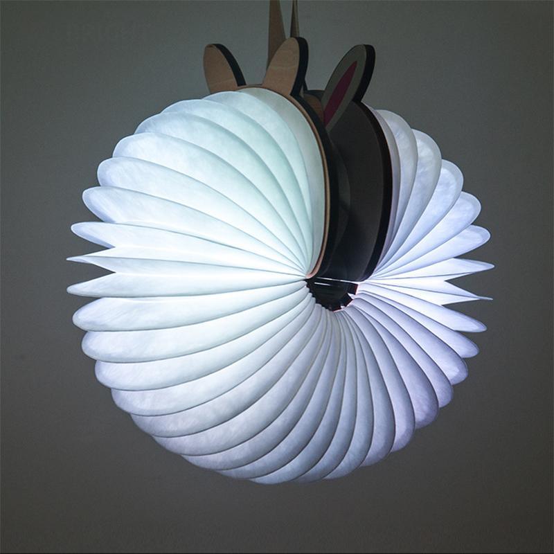 Nouveauté 2018 Bande Dessinée Mignon LED Livre Lumière DuPont En Bois Flip Page Papier Mini Portable Nuit Animale Lumière Coloré RGB Lampes