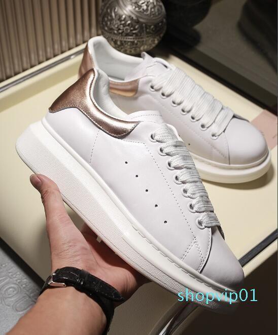 Повседневная обувь Desinger женщины мужчины кроссовки обувь лучшая кожа белый досуг обувь кожа розовое золото Оксфорд кроссовки