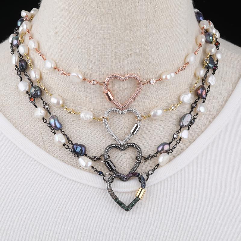 3pcs / Lot Gökkuşağı Zirkonyum Kalp Klipsler Toka Metal Zincirler Kolye, Kalp Şekli Karabina Klipsler kolye kolye Uzun 18 İnç
