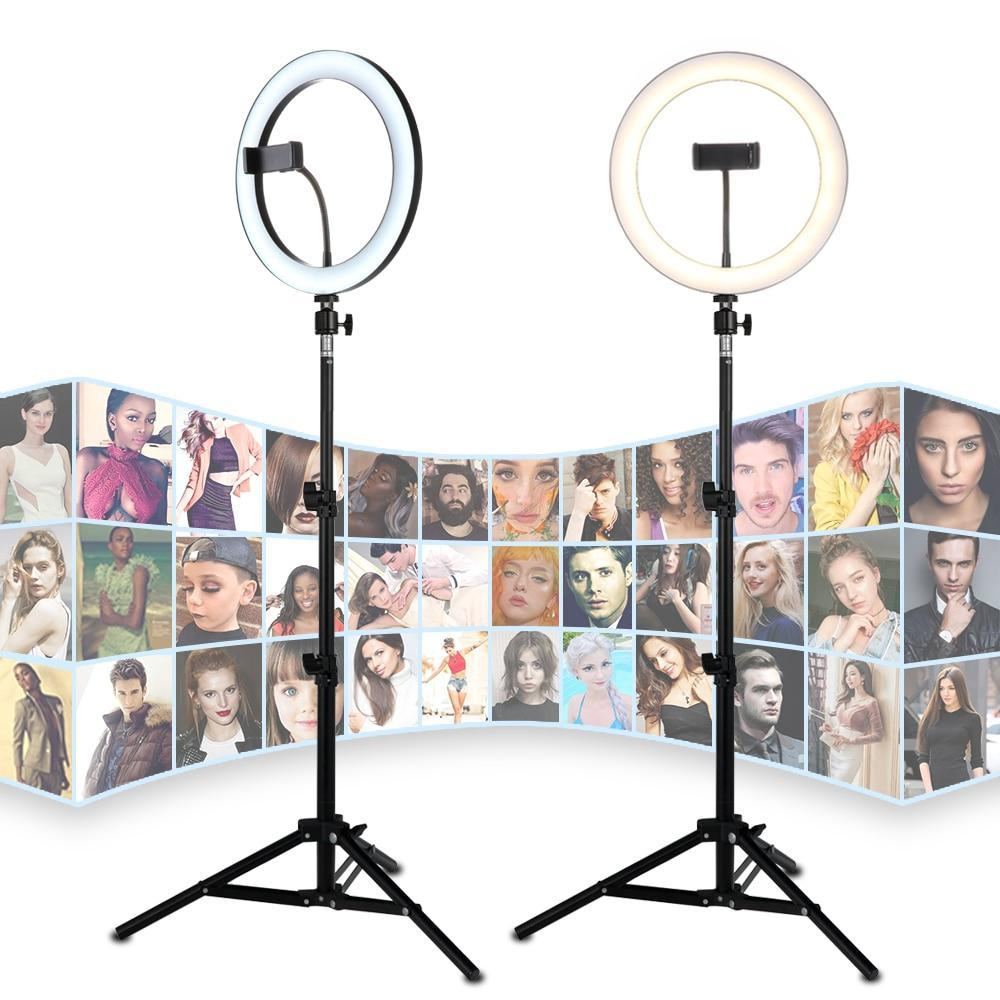 "26CM/10"" LED Selfie Ring Light For Live Stream/Makeup/Video Dimmable Beauty Ringlight with Tripod Stand & Phone Holder For iPhone Android"
