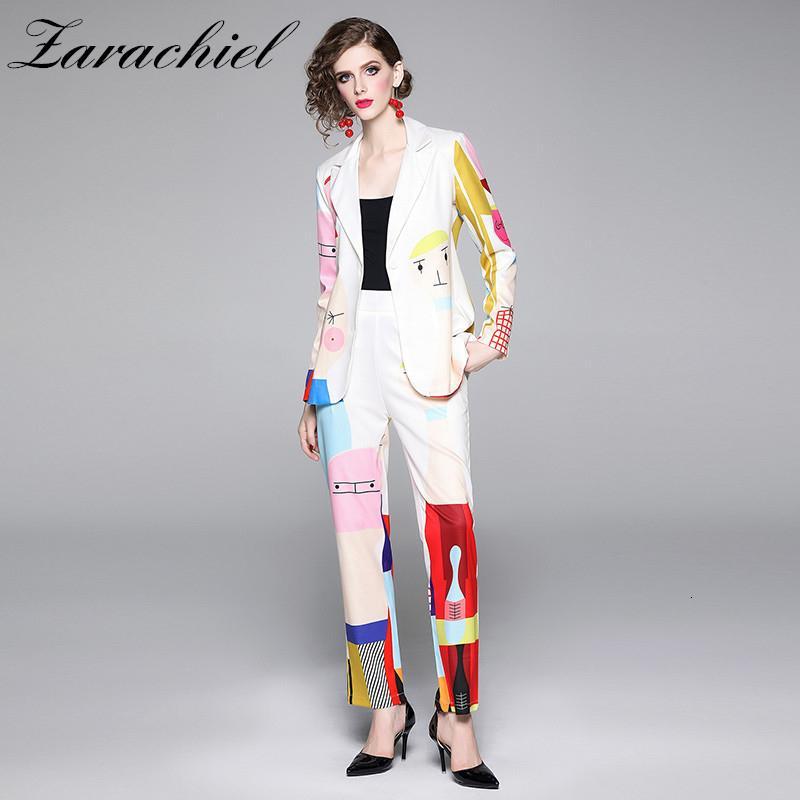 Cartoon piste Imprimer Costume Pantalon Femmes Casual entaillé Blazer + taille élastique Pocket Pantalon 2019 Bureau Automne Femmes 2 pièces SetMX190929