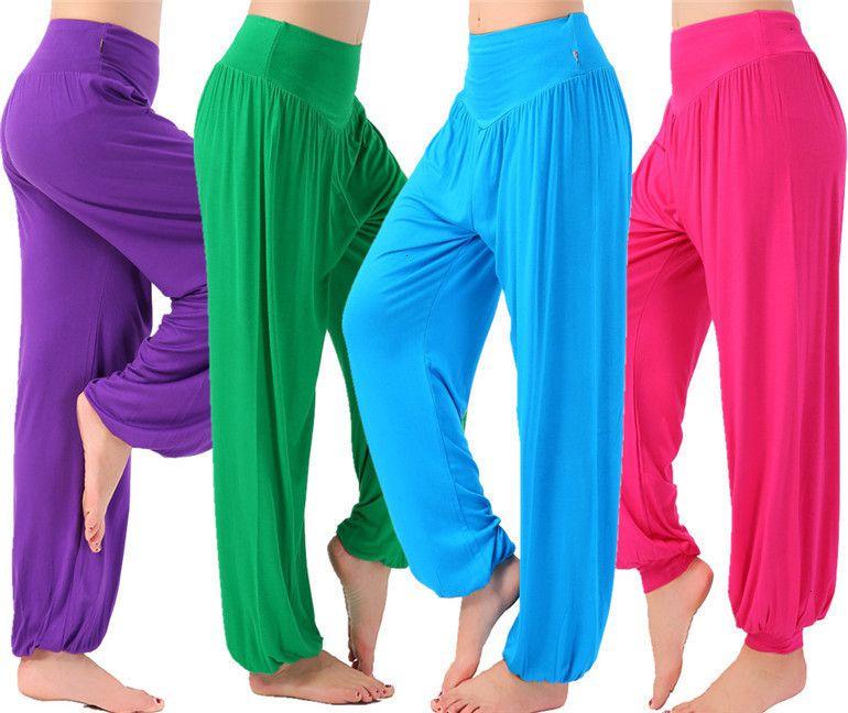 Mujeres Pantalones de las nuevas mujeres pantalones casuales pantalones de cintura alta de baile Discotecas amplio del tamaño de la pierna larga floja Bloomers Pantalones Plus