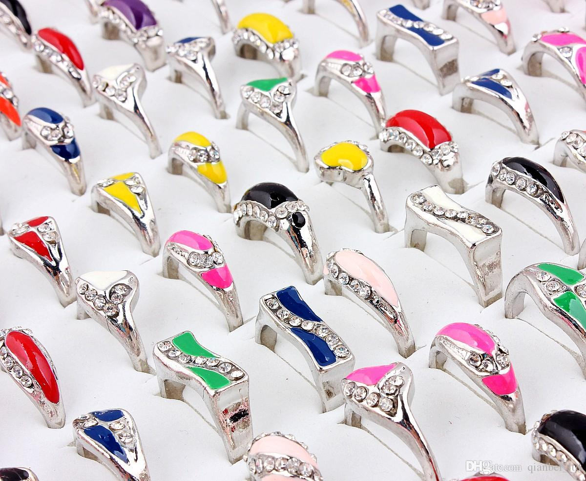 Top Quality Advanced Alloy Silver Plated Drop Oil Rhinestone Ring New Mixed 50Pcs Man And Woman Charm Luster Rings 6-9