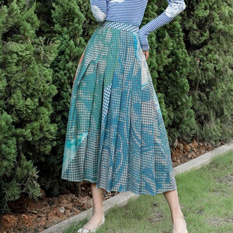 Литературной Печать плиссированных юбок Женщина моды абстрактного узор линия Юбка Elegant Осень Зима Одежда Женщина XJ2636