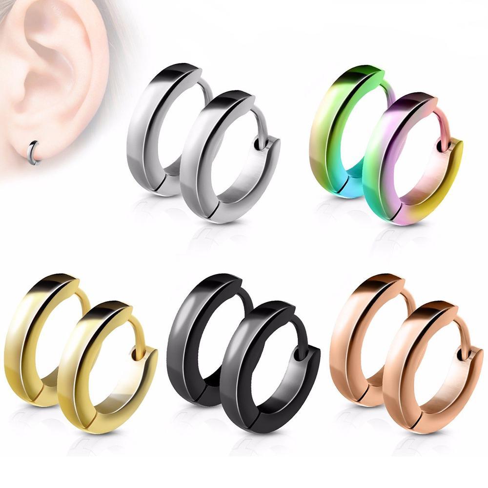 4 * Pendientes de 9 mm de acero inoxidable minimalistas aro pequeño para las mujeres de los hombres del círculo de oído del anillo de los pendientes de aro de joyería Piercing Helix