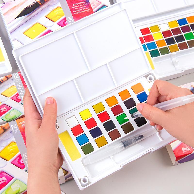 12/18/24/36 Cores Portáveis Travel Tintas De Pigmento Sólido De Viagem Ajustadas Com Tinta De Cor De Água Caneta De Pincel Para Material De Arte De Pintura