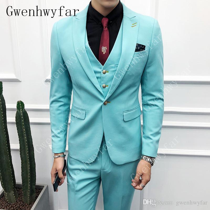 Gwenhwyfar (Blazer + Pants + Chaleco) Traje clásico de negocios para hombres Traje delgado de Slim Blue Blue Novio de boda Traje masculino Traje de caballero blanco