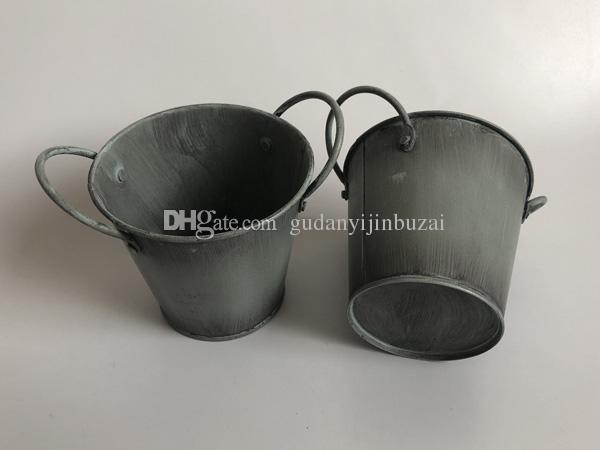 Wholesale Cheap Iron flower pots Old Rustic Metal Tub Tin Planters Zinc Galvanised Planters Succulents Pots