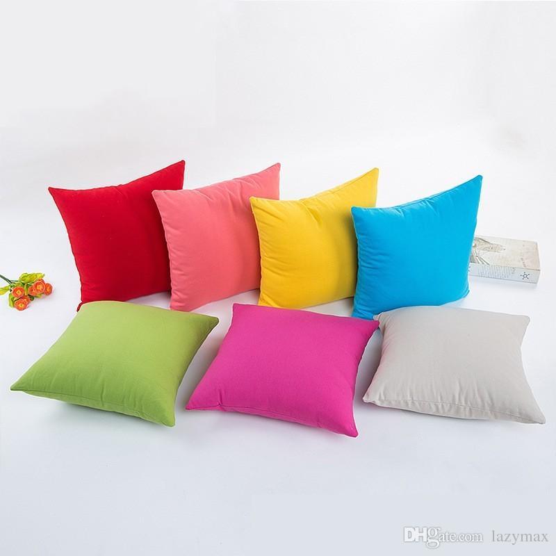 Simple Solid Color Linen Cotton Pillow Case Home Sofa Car Décor Cushion Cover