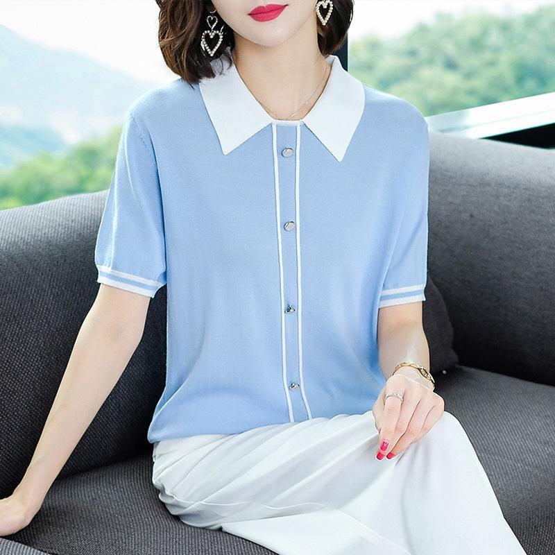seda Vestuário T- shirt do gelo malha superior camisa lapela 2020 roupas de verão das mulheres fina metade bronzeada manga bebê gola manga curta t-shirt