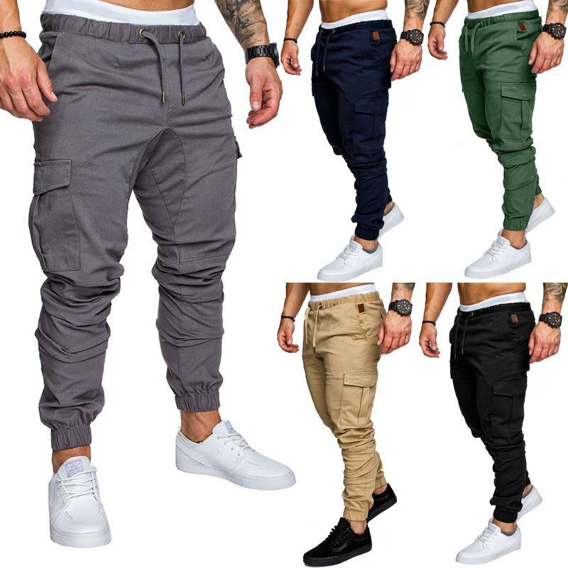 Calças masculinas lingdeng 2021 outono casual multi bolsos táticos exército campo esportes calças longas calças de moletom