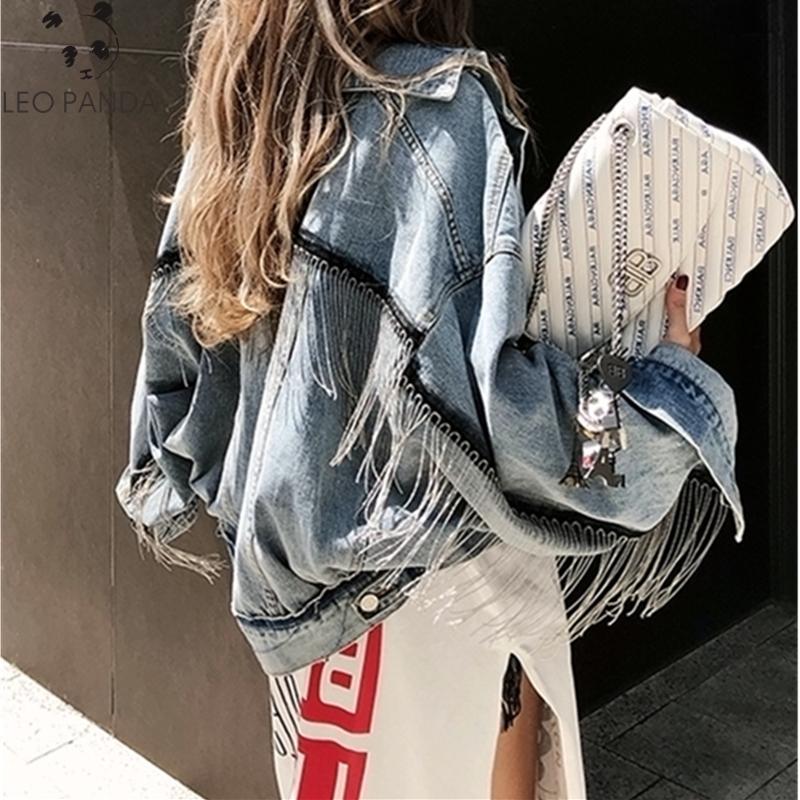 2019 Mujeres manga murciélago borla corta suelta rebabas chaqueta de mezclilla Moda femenina nuevo boyfrieds outwear Otoño Streetwear jean abrigo