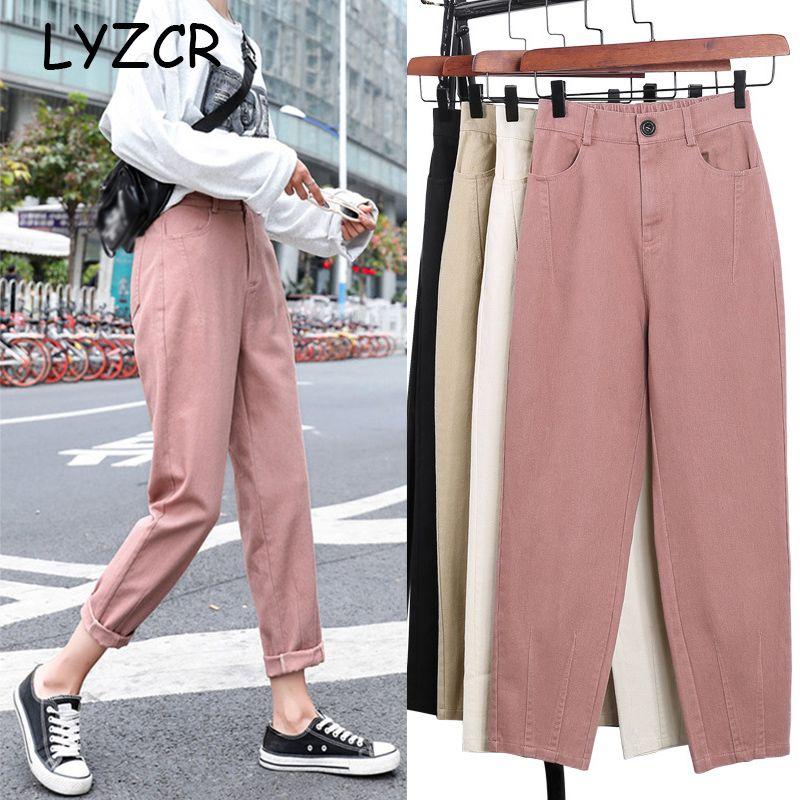 LYZCR allentato Cargo Pants estate delle donne 2020 Harem di jeans Khaki Donne denim pantaloni Women Casual Harem femminile