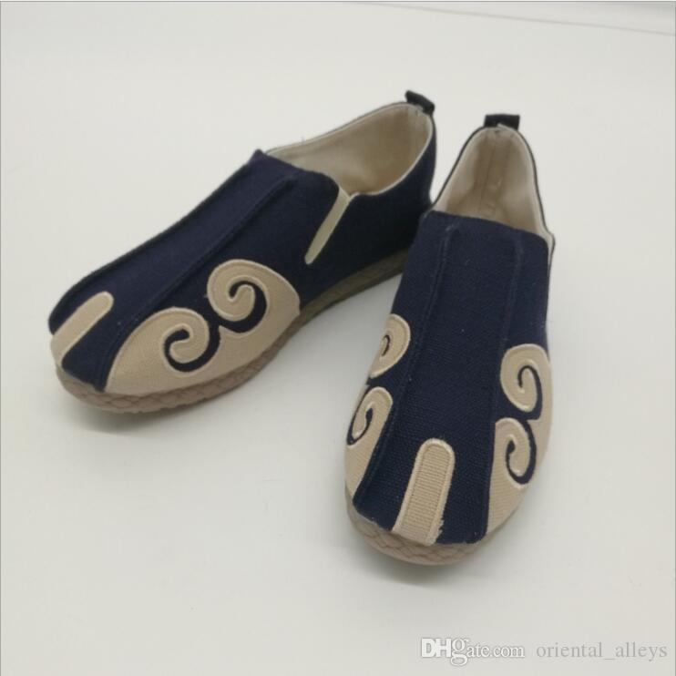 Algodón étnica de los tendones de los hombres zapatos de lona de lino de vaca zapatos planos de casas Vacaciones viajan informal estilo nacional de la tela de los holgazanes