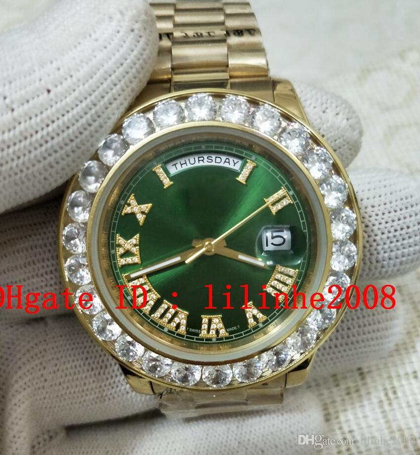 relógio dos homens de alta qualidade Big Diamante Bezel Automatic 2813 Champagne Roman 326938 Calendário Anual Sky Morador GMT Mens Relógios