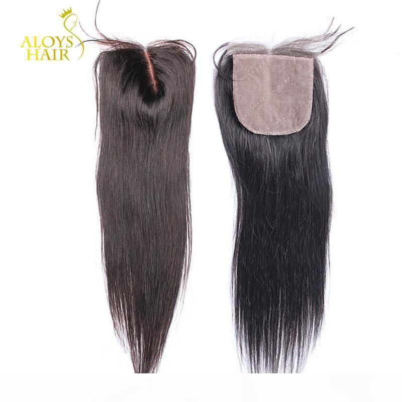 Base de seda brasileira Closures Malásia peruana indiana cambojano Hetero Virgin laço do cabelo humano Encerramento gratuito Médio 3 Part Natural Color