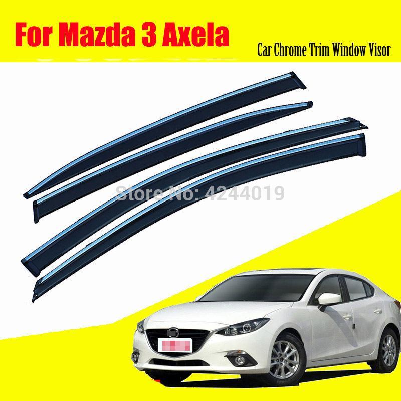 Finestrini per auto Rifugi per finestre Visiere Parapioggia per scudo autoadesivo Copertura cromata Assetto cromato Accessori auto per Mazda 3