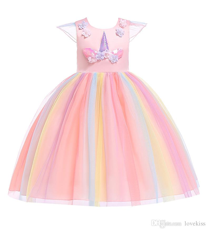 2019 2019 New Fashion Kids Designer Clothes Girls Dresses Unicorn Princess  Dress Floral Childrens Dresses Rainbow Long Formal Dresses A2386 From