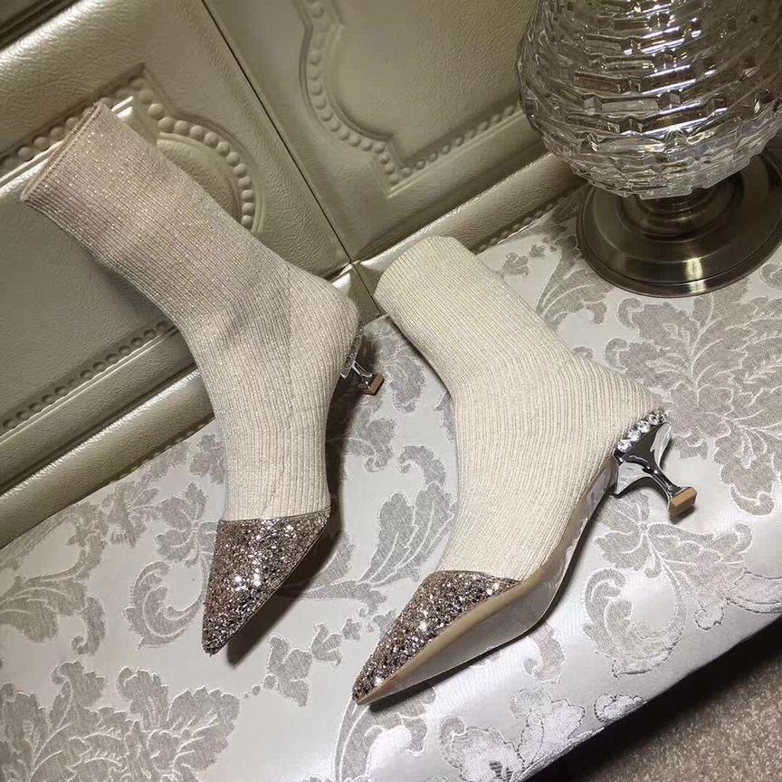 Vendita-beige grigio caldo tacchi gattino nero a maglia Stivaletti per strass donna stivali breve tratto di cristallo lucido stivali calzino