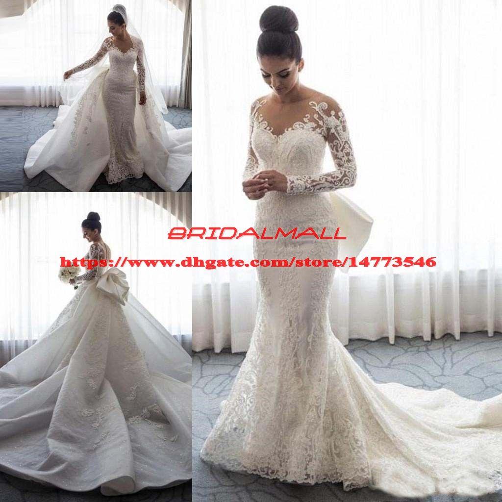 Sheer Long Sleeves Mermaid Brautkleider Overskirts Lace Appliqued Bridal Dress Abnehmbarer Zug Brautkleider Button Zurück Robe de mariée
