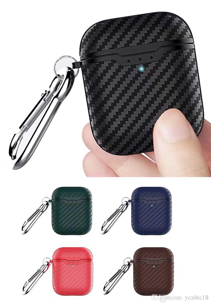 Luxus-Fall für AirPods Fall 12-Generation-Kopfhörer-Kasten Carbon-Muster mit Hakenfallschutzabdeckung Kopfhörer für Air-Hülsen-Abdeckung