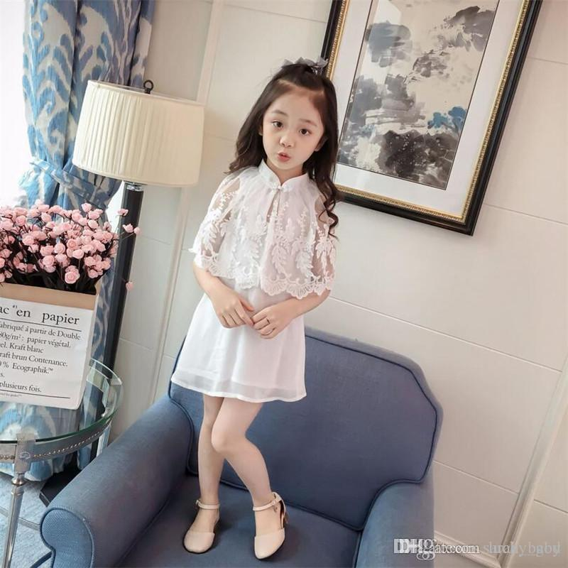 Summer New Children's Dress Baby & Kids Korean Fashion Brief Lace Silk Turtleneck Batwing Sleeve Girl's Daily A-Line Dresses