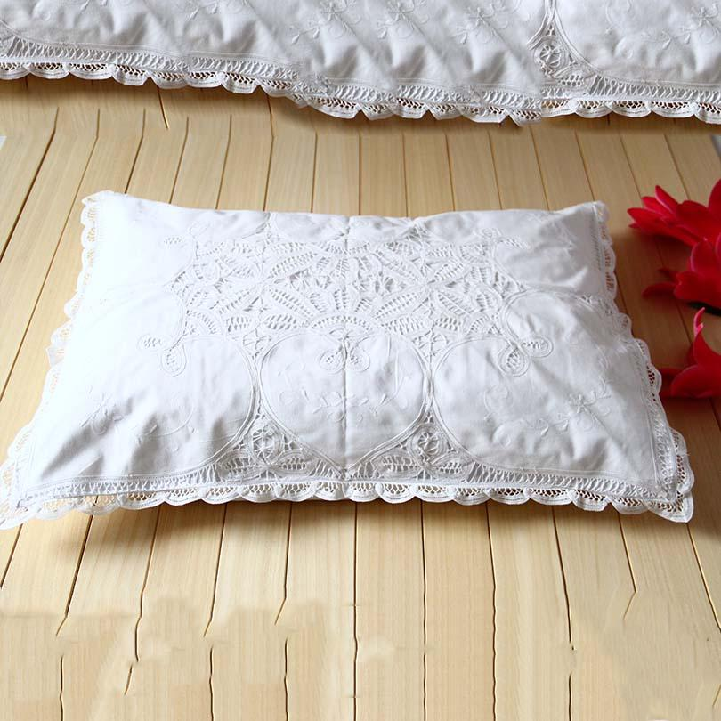 QUNYINGXIU Heart Pillow Case 83*61 cm Embroidered White Floral Pillow Sham 100% Cotton Handmade Dustproof Bed Case