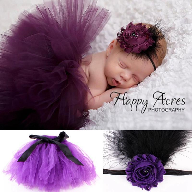 Newborn Tutu Dress Designer Toddler TUTU Skirt Headband 2pcs Sets Baby Girl Clothes Photo Kids Clothing 7 Designs Optional WZW-YW2212