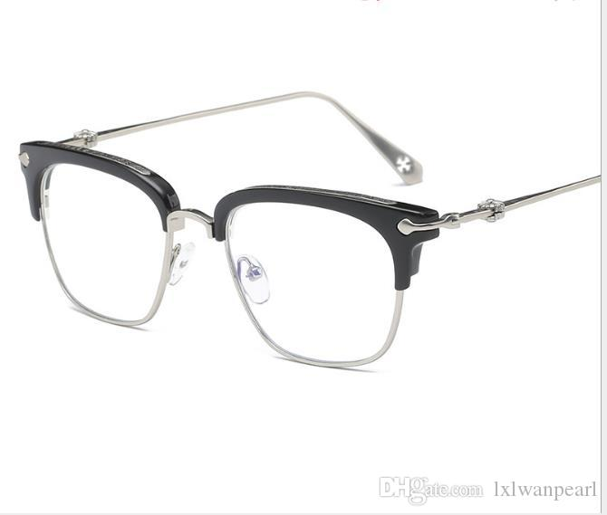 Fashionable anti-blue radiation flat glasses with spectacle frames for men and women with myopia