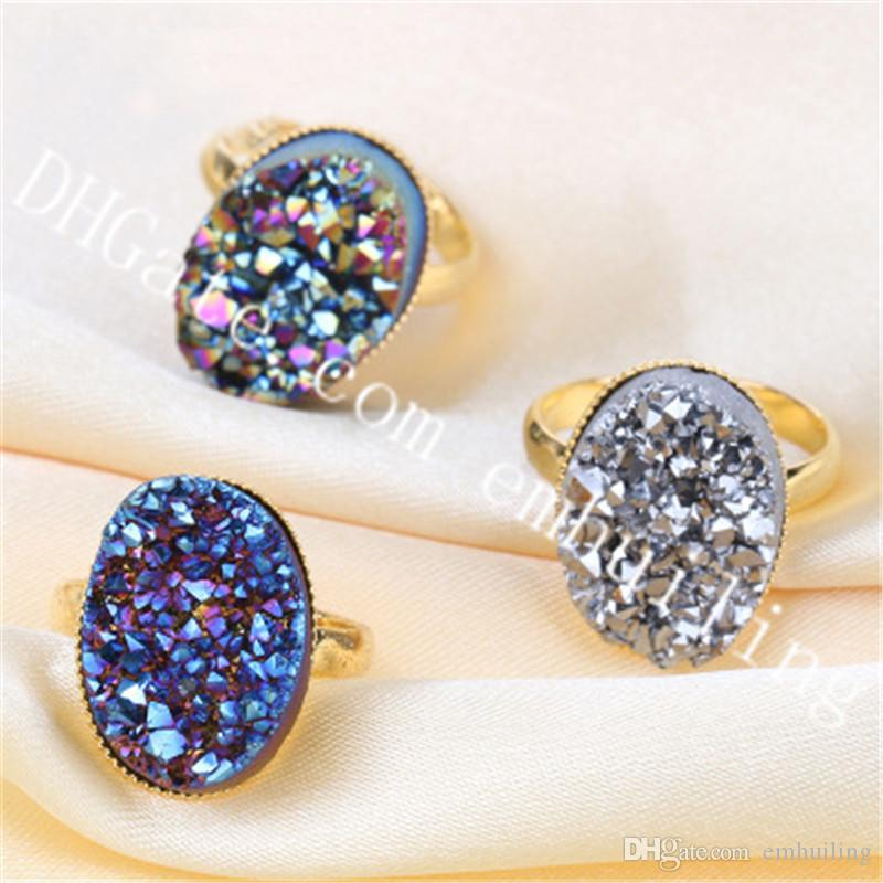 10Pcs Blue/Gold/Rainbow/Champagne/Silver Druzy Ring Mystic Titanium Coated Raw Druzy Geode Crystal Cluster Stone Adjustable Statement Ring