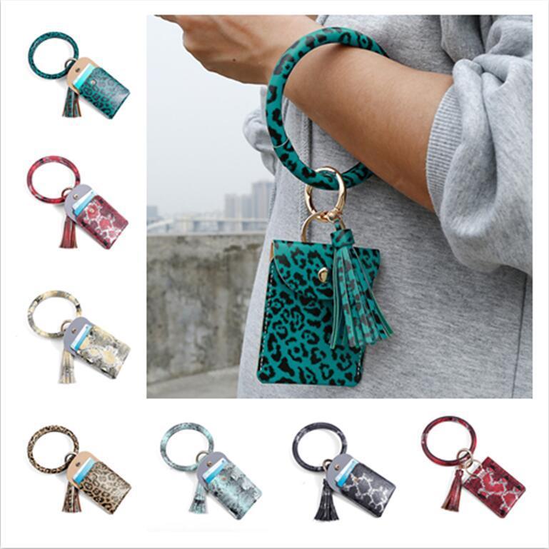 Circle Bangle Leopard Purses E22909 Card Wallets Wristlets Wallet Holder Bag Women Keychain PU Leather Tassels Coin Chain Zero Bracelet Quje