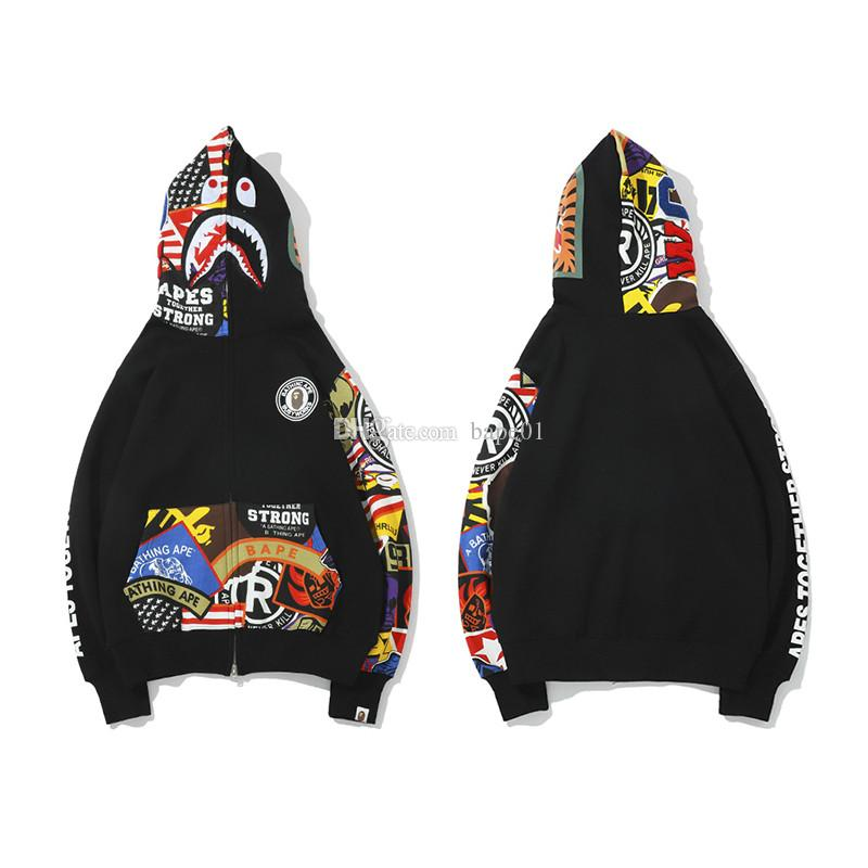 Bape Hommes Veste Mode Hommes BAPE Shark Impression vêtement noir de haute qualité Graffiti Hip Hop Jacket Taille M-2XL