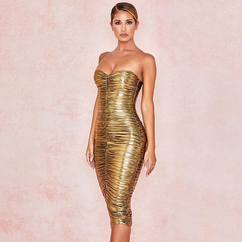Разрез шеи Золотых женщины платья лето без бретелек Плиссированных женщин платья конструктора Повседневной моды Благородной женской одежды