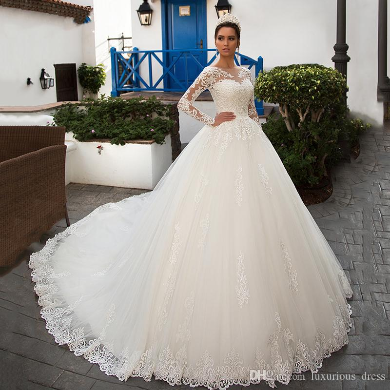 Gorgeous Long Sleeve Tulle Bolero Ball Gown Wedding Dresses 2019 Scoop Luxury Chapel Train Vintage Princess Wedding Gowns robe de mariee