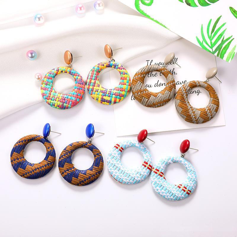 Круглые серьги ручной работы из соломки для женщин Lafite Straw Weave Braid Серьги с большими обручами мотаются чешские украшения