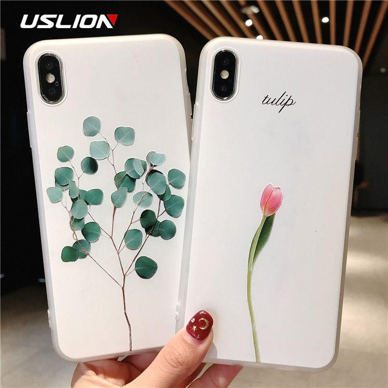 USLION folhas verdes capa para iPhone 11 Pro XR XS Flor Relief Max X 3D telefone iPhone Capa Para 6 6s 7 8 Plus Casos de silicone macio