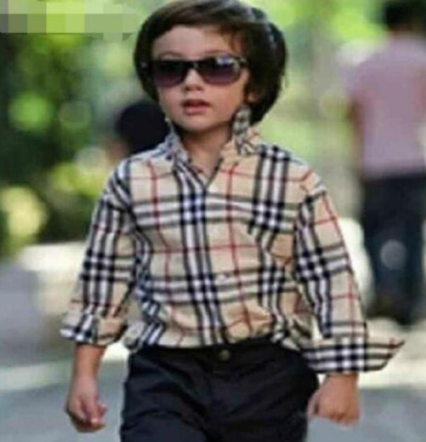 Мальчики девочки рубашка Детская одежда плед с длинным рукавом однобортный рубашки Англия стиль дети Марка теги одежда для мальчика топы
