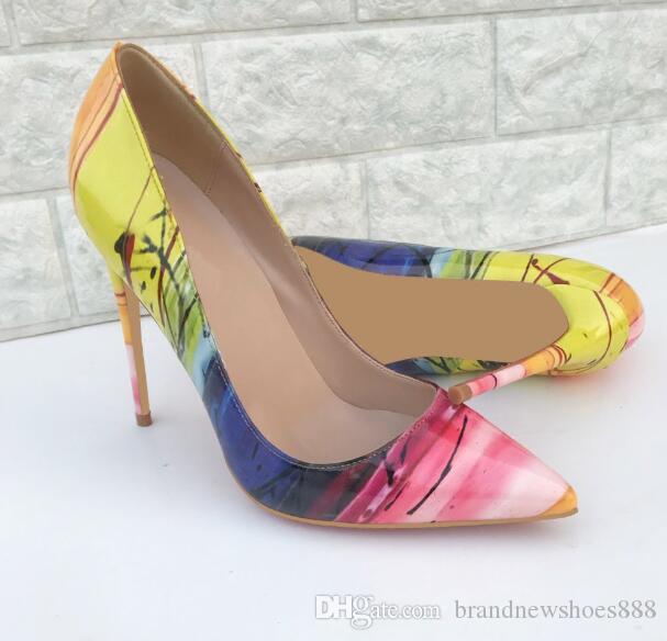 Heißer verkauf Gedruckt Leder Damen High Heels Party Kleid Hochzeit Schuhe Frau Pumpt Spitz High Heel Frauen Schuhe Zapatos Tacon