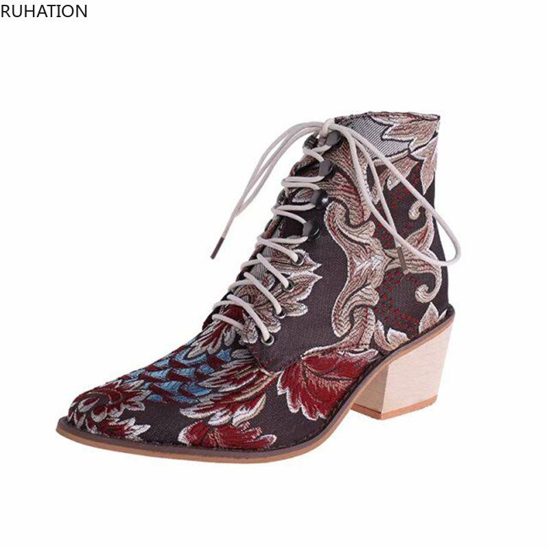 Women's Ankler Boots Embroide Fur Lace-Up Pointed Toe High (5cm-8cm) Square Heel Spring/Autumn Sandal Large Size